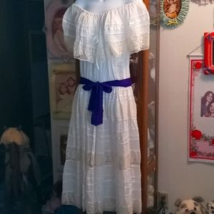 Beautiful Handmade White Mexican Maxi Dress